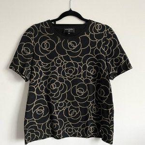 CHANEL Black Camellia Gold Glitter 2018 T- Shirt